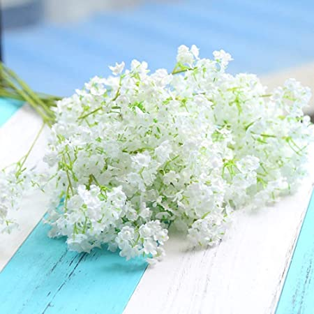 Hommini 20pcs Artificial Flowers Gypsophila Baby Breath 16 Fake Silk Flowers Simulation Real Touch Bouquets For Wedding Party Diy Home Office Table Decoration Garden Amazon Co Uk Kitchen Home