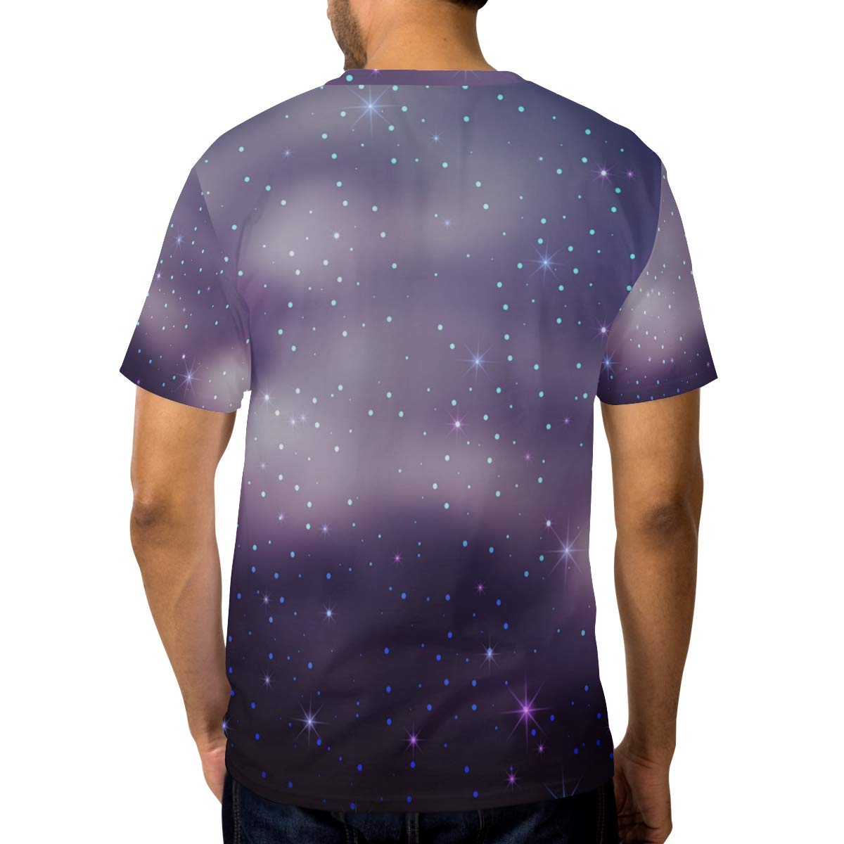 Starry Sky Puple Mens T Shirts Graphic Funny Body Print Short T-Shirt Unisex Pullover Blouse