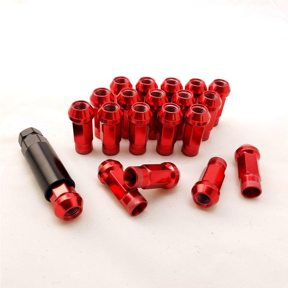 X-ZONE Tuercas de acero para rueda de 20 piezas SR48 anodizadas 50BV30, 48 mm de longitud, M12 x 1,5/M12 x 1,25