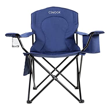 Csnook Over-sized Padded Outdoor Quad Chair with Cooler bag, Champing Folding Chair, Heavy Duty, Extra Wide