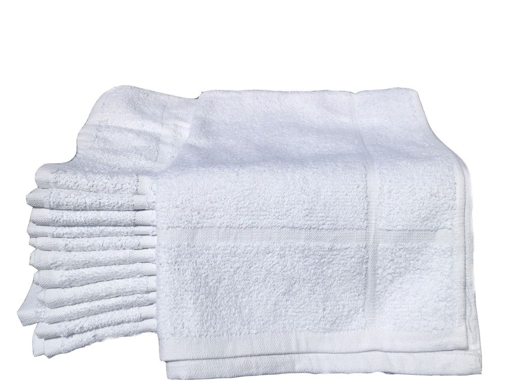 "12 NEW WHITE 100% COTTON ECONOMY 20""X30"" HOTEL BATH MATS"