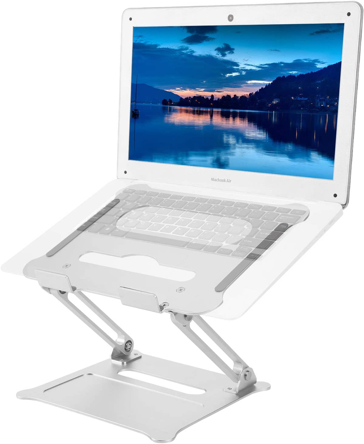 """Laptop Stand Computer Holder Riser Ergonomic Adjustable Portable Aluminum Alloy Laptop Riser Foldable Notebook Stand Compatible with MacBook Air Pro More 10-15.6/"""" Laptops and Tablets Lenovo Dell"""