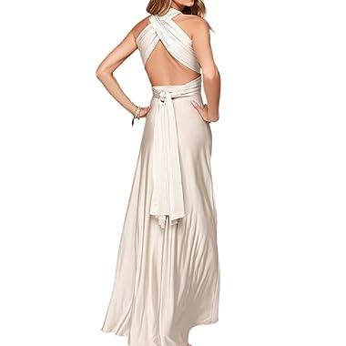 Clothink Women's Convertible Wrap Multi Way Party Long Maxi Dress