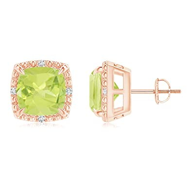 Angara Claw-Set Cushion Peridot Beaded Halo Stud Earrings sWGBEHYeC0