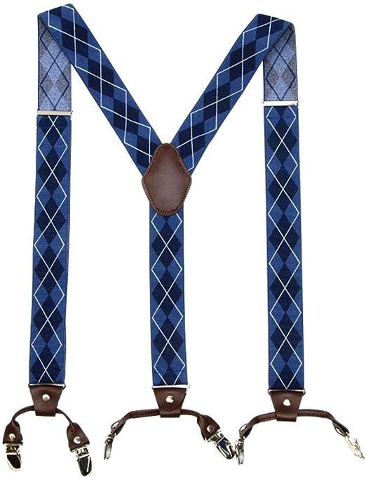 ChenYongPing Tirantes para Hombres Camisas de Hombre con Clip en Y de Seis Camisas, Antideslizantes, Clips Antiarrugas, Pantalones Estampados Tirantes para Hombres Anchos: Amazon.es: Hogar