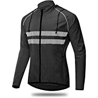 Hooded Cycling Jacket for Men, Waterproof Windproof Wicking Mountain Bike Jacket with Hood, Softshell Breathable High…