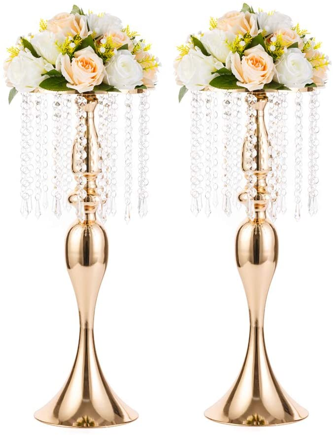 2 Pcs 21.3 inches Tall Crystal Flower Stand Wedding Road Lead Tall Flower Holders Centerpiece Crystal Flower Chandelier Metal Flower Vase for Reception Tables Wedding Supplies