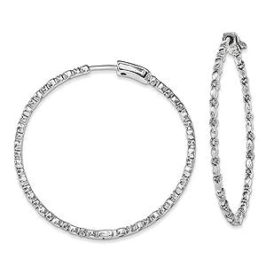 .925 Sterling Silver 53 MM Diamonds In & Out Hoop Earrings