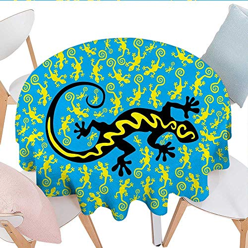 Home-textile-print Reptile Dinning Tabletop DecorHawaiian Exotic Lizard Dancing with Many Mascots on The Ground Fun Illustration Dust-Proof Round Tablecloth D50 Black Blue Yellow (Metallic Print Lizard)