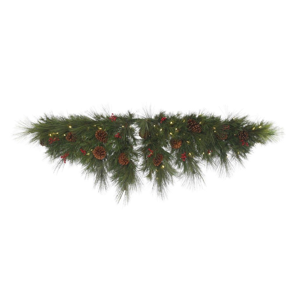 Vickerman G154212LED Big Cascade Pine Swag with 296 PVC Tips, Pinecones, Berries & 100 LED Italian Single Mold Lights On Wire, 72'', Warm White/Green