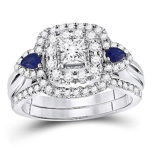Juego de anillos de compromiso de oro blanco de 14 quilates de Lux ...