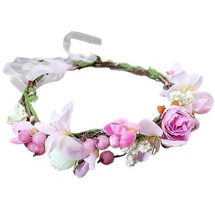 Handmade Flowers Headband OOAK Floral Crown Pink Hollyhock Eucalyptus Headpiece Bridal Flower Crown Wedding Pink Flower Hair Accessories