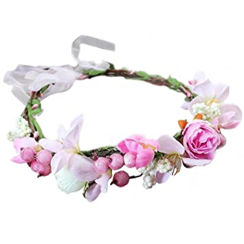 Woodland Hairpiece,Boho Bridal Wreath,COTTON CANDY Wedding CROWN with pink silk babies breath flowers /& white pip berries Bridal Headpiece