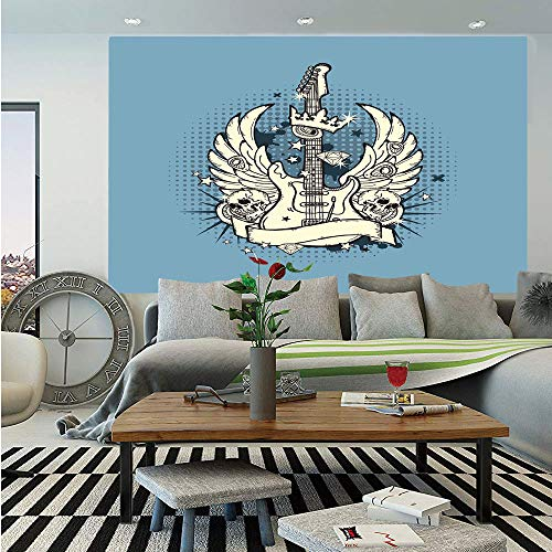 Guitar Huge Photo Wall Mural,Rock n Roll Composition Crown Wings Skulls Stars on Retro Grunge Backdrop,Self-Adhesive Large Wallpaper for Home Decor 108x152 inches,Pale Blue Ivory Black (All Star Wings Best Flavours)