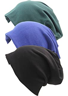 RRiody 3 Pack Unisex Indoors Cotton Stretch Beanie Hat- Soft Sleep Cap for  Hairloss 6b332ad07e30