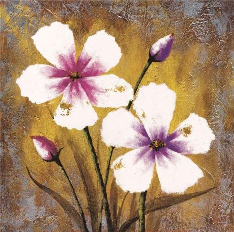 Med Oak Frame - The Perfect Effect Canvas Of Oil Painting 'Pink Flowers' ,size: 8x8 Inch / 20x20 Cm ,this Beautiful Art Decorative Prints On Canvas Is Fit For Wall Art Decoration And Home Decoration And Gifts