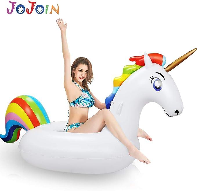 Jojoin Colchoneta Inflable Unicornio Juguetes para la Piscina, Flotador Unicornio Piscina para Adultos y Niños Playa Fiestas de Piscina Juegos Decoraciones de Salón Terraza, 200 x 100 x 90CM: Amazon.es: Juguetes y