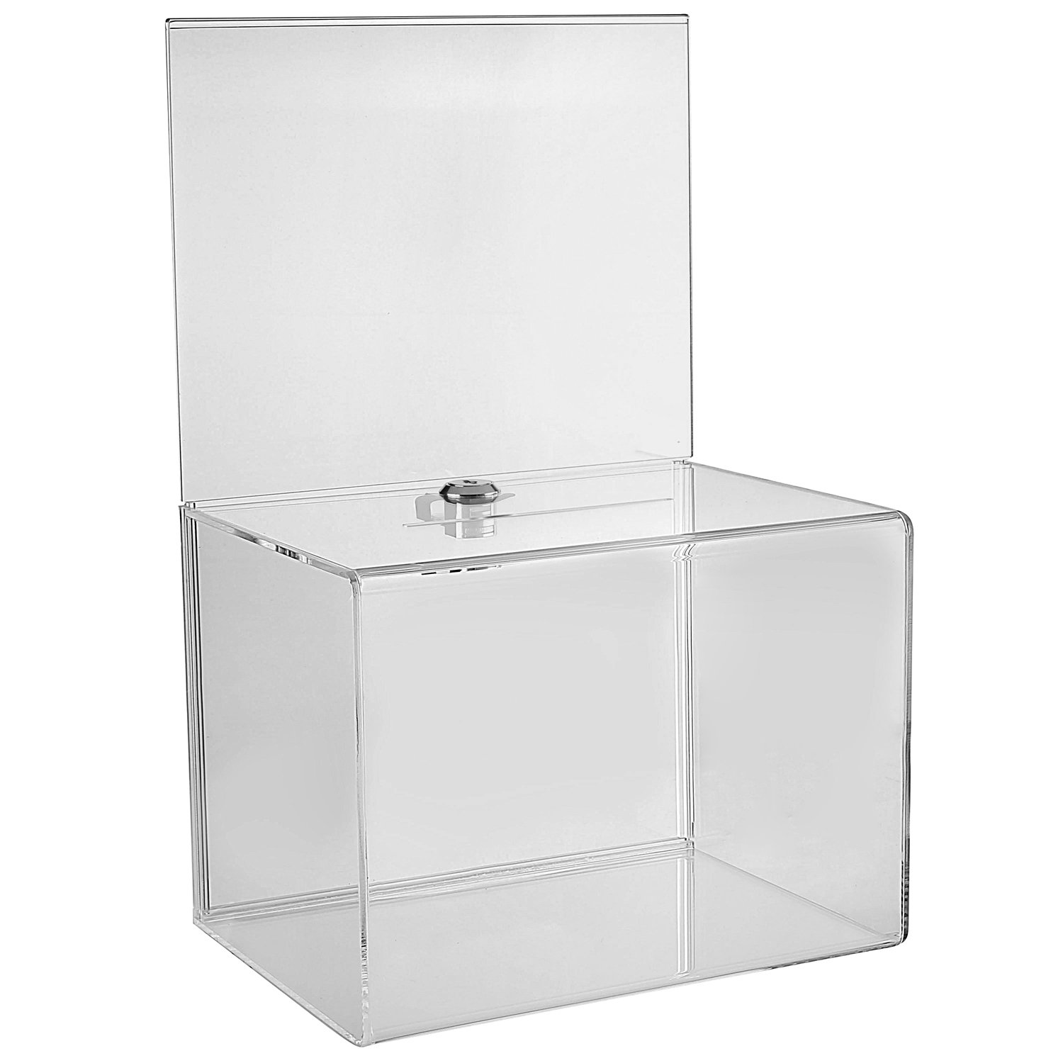 MCB - Wide Donation Box - Ballot Box - Suggestion Box - Acrylic Box - Tip Box- With Large Display Area (2 Pack)