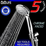 Shower Perfection by OjoLife Innovations - Super Luxury Hotel & Spa Quality 5 Setting Variable Spray Oversized Handheld Shower Head w/ Chrome Finish - Extra Long 6 Foot Stainless Steel Hose & Holder
