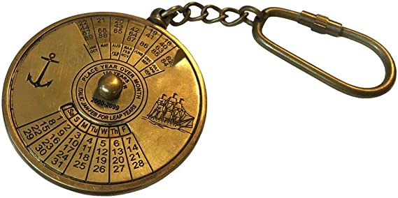 100 YEAR PERPETUAL CALENDER PENDENT CHARM ANTIQUE BRASS NAUTICAL VINTAGE STYLE