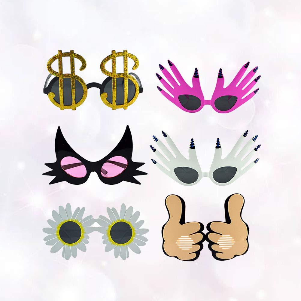 Toyvian 6PCS Occhiali Divertenti Occhiali da sole per feste Occhiali da sole per costumi Gesto con palmo a forma di gatto con pollice e occhiali da sole con motivo dollaro