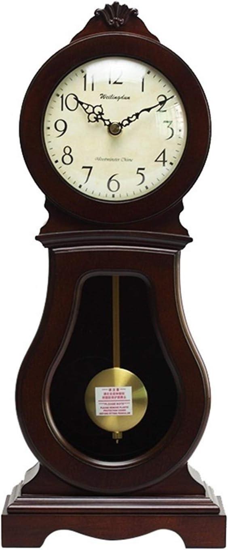 Vioaplem Música por Hora del Reloj del Escritorio de la antigüedad de Cuarzo Reloj de Escritorio de Madera Silencio Dormitorio Reloj de la Chimenea Relojes de Chimenea