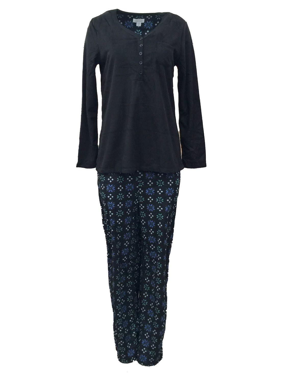 Celestial Dreams Womens Black Snowflake Pajamas 2 PC Fleece Henley Pajama  Set S at Amazon Women s Clothing store  4fca90419