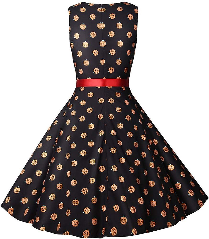 Disfraces De Halloween para Mujer Vestido Vintage Calabaza Swing ...