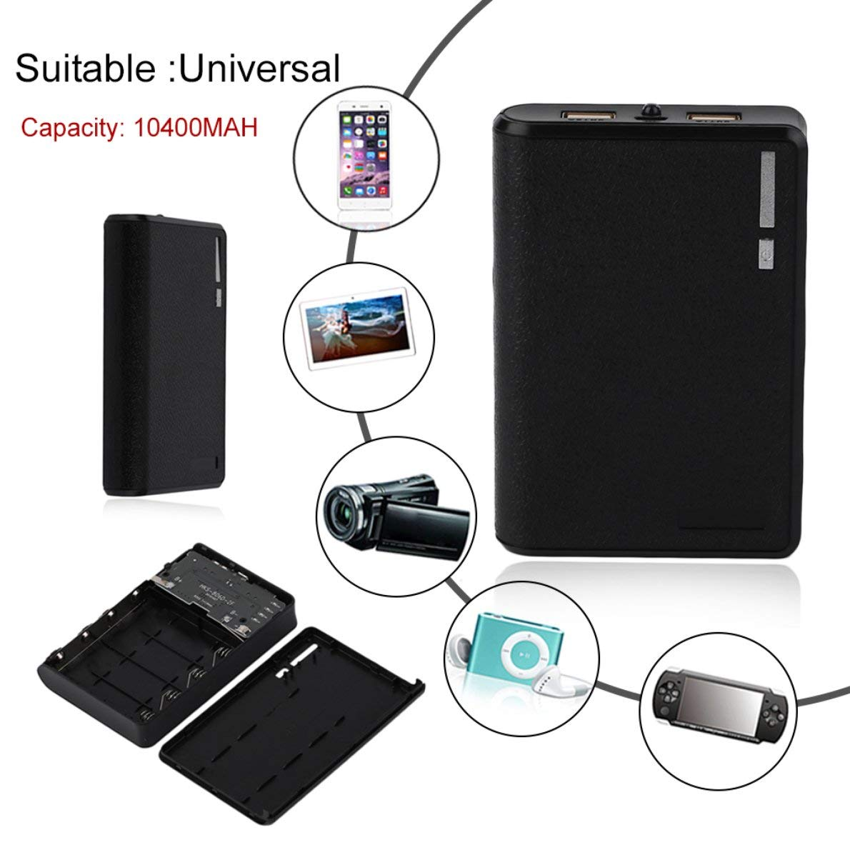 18650 Battery External Power Bank Mobile Phone Battery Charger Suitable for iPhone Uqiangbao Large Capacity 10400MAH Portable Size 4