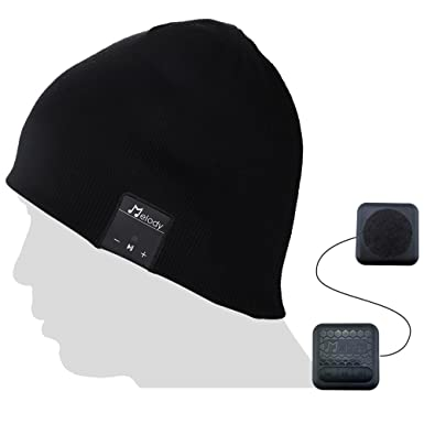 Bluetooth Beanie Music Hat,Coeuspow V4.1 Wireless Smart Beanie Music Cap with HD Stereo Speaker,Built-in Mic CVC 6.0 Noise Cancelling Microphone for Running Skiing Skating Black