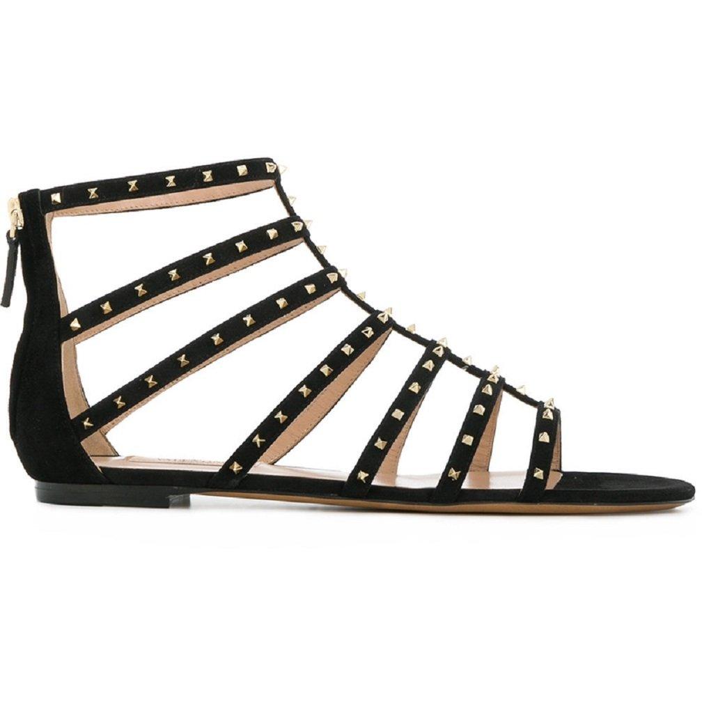 Valentino Garavani Brand New Women's Black Rivets Flat Shoes B07F1VCF4M 37EU
