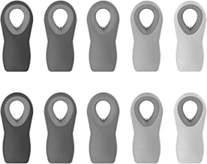 Cook with Color 10 Pc Bag Clips with Magnet, Food Clips, Chip Clips, Bag Clips for Food Storage with Air Tight Seal Grip for Bread Bags, Snack Bags and Food Bags (Ombre, Gray)