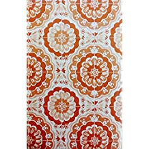"Bursting Blooms of Color Vinyl Flannel Back Tablecloth - Various Sizes and Colors (52"" x 90"" Oblong, Shades of Orange)"
