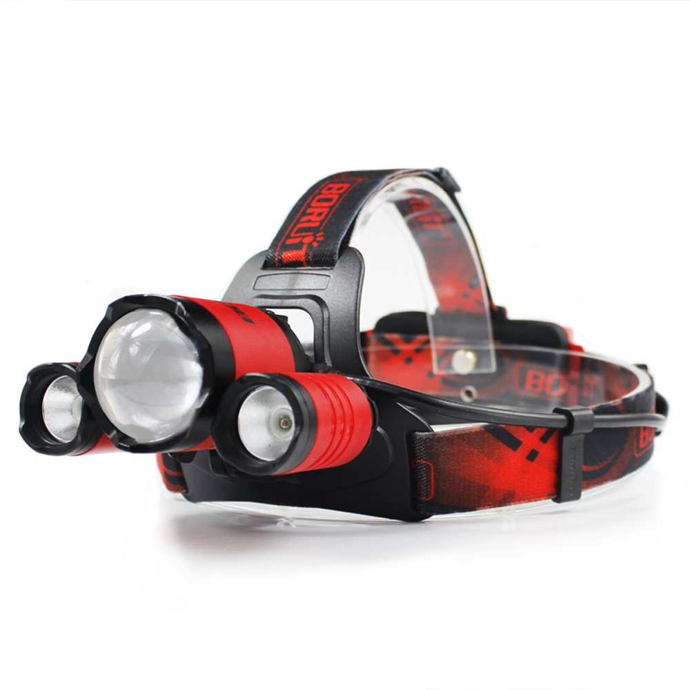 Boruit Upgraded B22 LED Headlamp-Ultra Bright 5000 Lumens ,4 Lighting Modes,White & Red LEDs,IPX6 Water Resistant ,USB Rechargeable & Zoomable Head Lamp Perfect for Running, Camping, Hiking & More