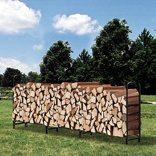 12 ft Outdoor Fire Wood Log Rack for Fireplace Heavy Duty Firewood Pile Storage Racks for Patio Deck Metal Log Holder Stand Tubular Steel Wood Stacking Outside Fire place Tools Accessories Black