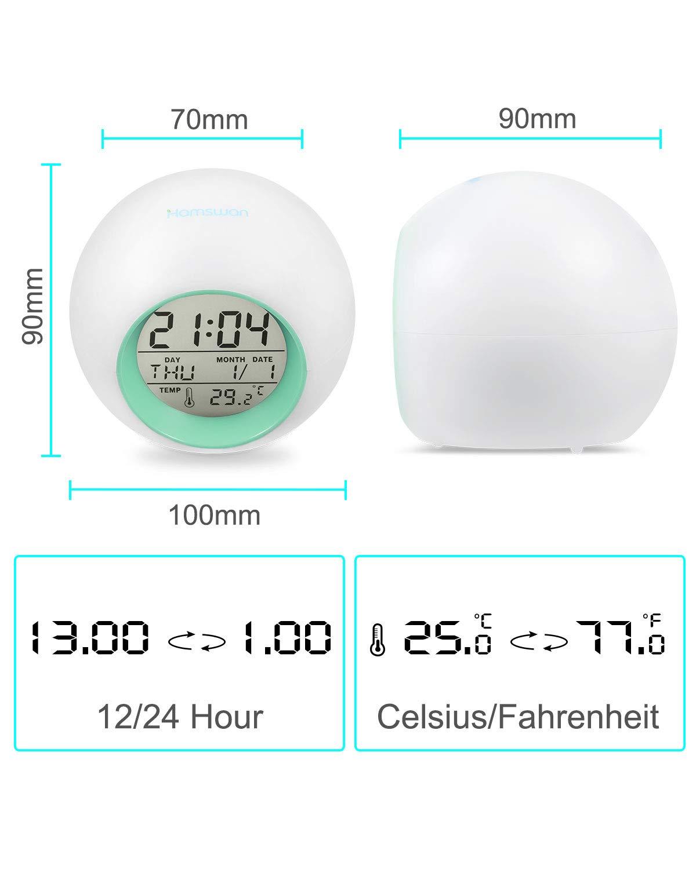 Despertadores Cambiado Entre 7 Colores con 8 Tonos Clock Despertadores, HAMSWAN Reloi Alarma Tempreatura para Padres Estudios y Ni/ños ect. Regalo