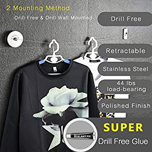 BESy SUS304 Stainless Steel Clothesline Retractable Clothes Dryer Self Adhesive (Drill Free) with Adjustable Pulley and Braided Stainless Steel Wire Hotel Style,9.2 Feets,Polished Finish, Round Style