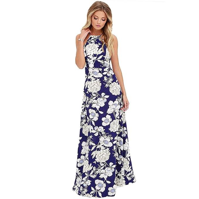 Vestido Para Mujer, Ouneed Mujer Vintage halter bohemio largo Maxi noche fiesta playa vestido (