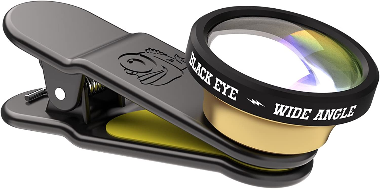 Black Eye Lens Clip-On Wide Angle 160 Degrees Universal Smartphone and Tablet Clip-On Camera Lens, Compatible with iPhone, iPad, Samsung - Black/Yellow