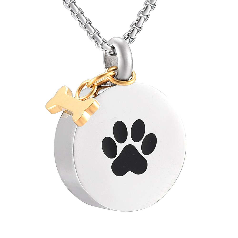 JC9922 Pet remembrance jewelry Golden Dog Bone Charm With Paw Print Cremation Urn Necklace For Ashes