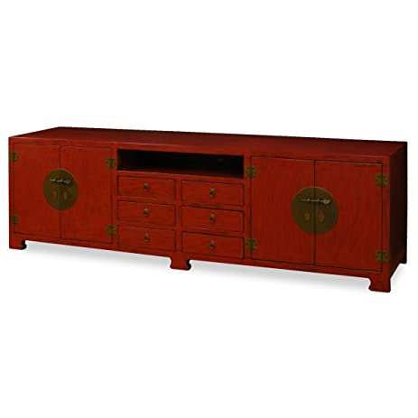 China Furniture Online Elmwood Sideboard, 94 Inches Tang Design Media  Cabinet Distressed Red Finish