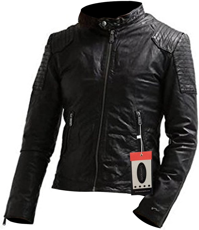 Laverapelle Mens Genuine Lambskin Leather Jacket Black, Racer Jacket 1501527
