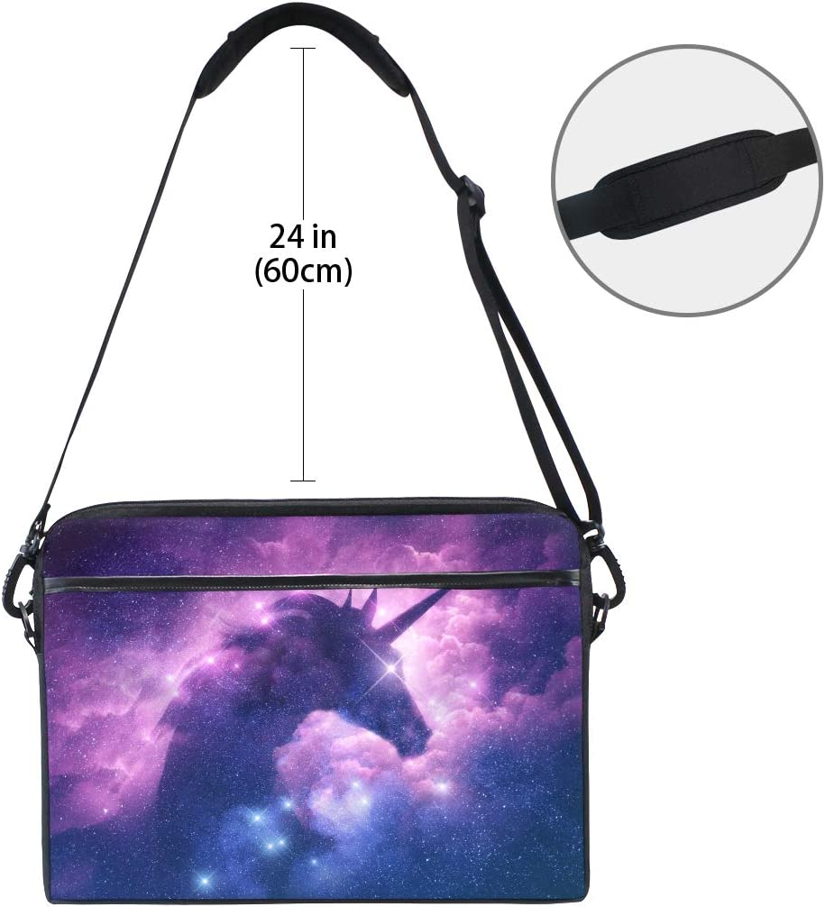 Linomo Computer Bag Galaxy Space Animal Unicorn Laptop Sleeve Case Briefcase Messenger Sleeve Laptop Shoulder Bag fits 13 Inch 14 Inch 14.5 Inch Laptop for Women Men Office Kids School