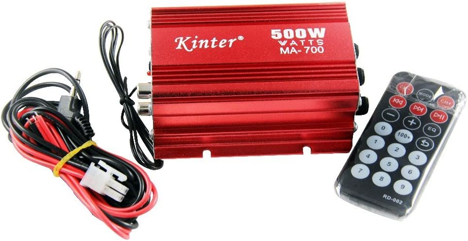 Rivenbert Amplificateur Ampli pour Haut Parleur 2 Canaux 500w Voiture Auto Moto Rouge by