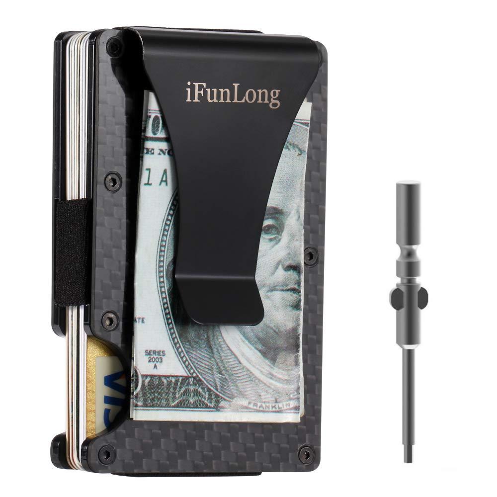 iFunLong Slim Front Pocket Wallet Carbon Fibre Aluminum RFID Blocking Credit Card Case Holder Money Clip For Men Women