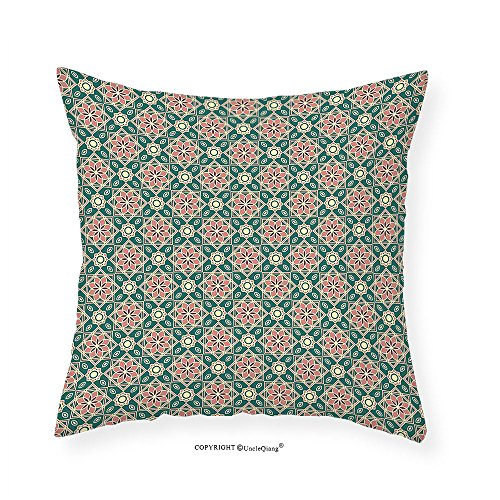 VROSELV Custom Cotton Linen Pillowcase Eastern Vintage Mosaic Design of Florets Zigzag Borders Oval Details for Bedroom Living Room Dorm Forest Green Light Pink Peach 20