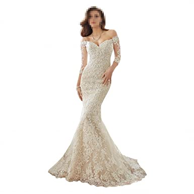 530b7efe0e73 DingDingMail Women s Off-Shoulder Lace Mermaid Wedding Dress for Bride New  3 4 Sleeve Mermaid Chapel Wedding Gowns (046) at Amazon Women s Clothing  store