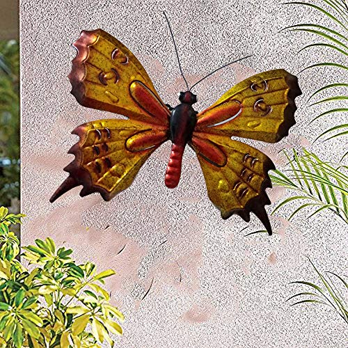 Trio Butterfly Art (starbluegarden Collapsible Metal Yellow Butterfly Wall Decor Wall Art Trio, Hang Indoors or Outdoors Garden Decor)