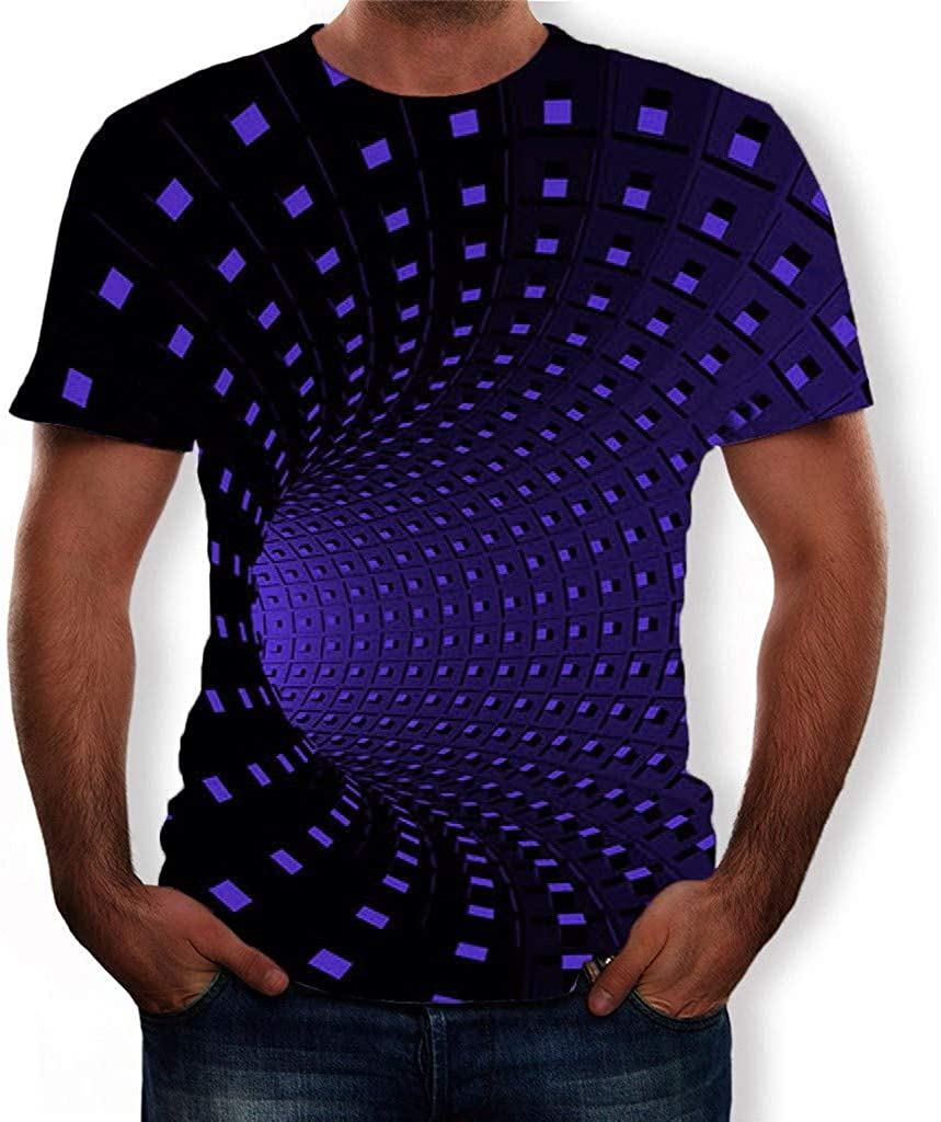 FANSHONN Mens 3D Pattern Printed Short Sleeve Graphic Colorful T-Shirts Crew Neck Fashion Casual Tees