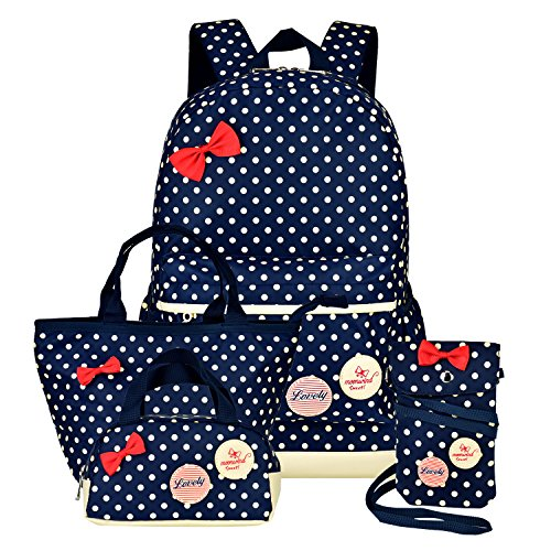 Moonwind Polka Dot 3pcs Kids Book Bag School Backpack Handbag Purse Girls Teen (Navy 4Pcs Polka Dots)